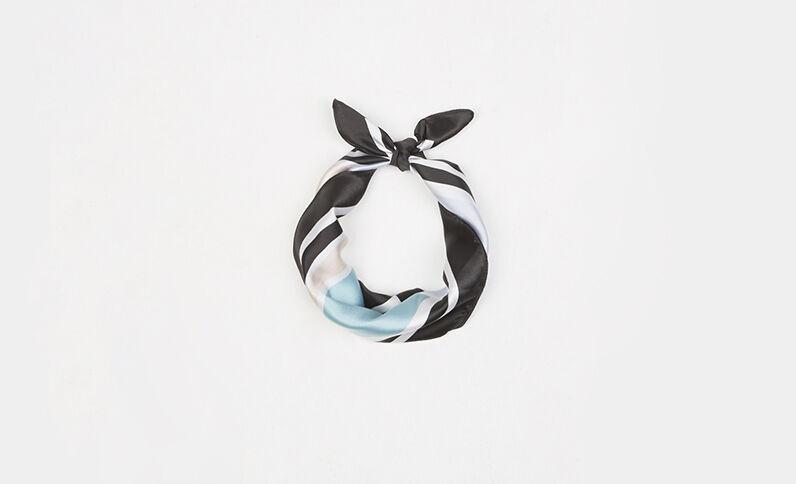 Kleines Halstuch aus Satin mit geometrischem Motiv Schwarz