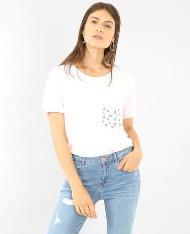 T-shirt oversize à poche rivetée écru
