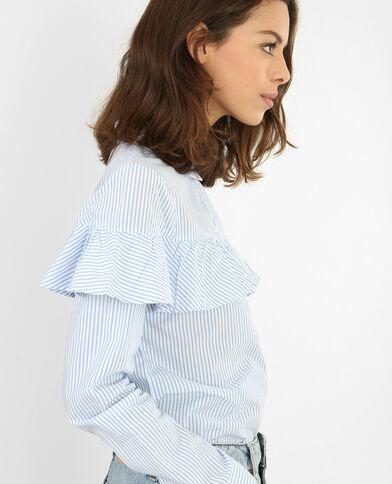 Camicia a righe con volant bianco