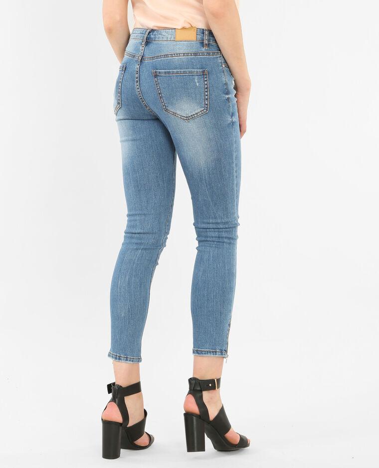 skinny jeans mit rei verschluss denimblau 40. Black Bedroom Furniture Sets. Home Design Ideas