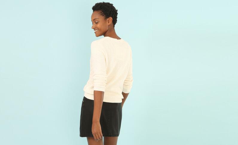 Pullover mit Zopfmuster Weiß