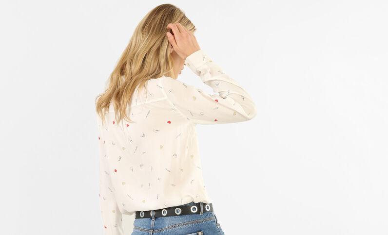 Bedruckte Hemdbluse Weiß