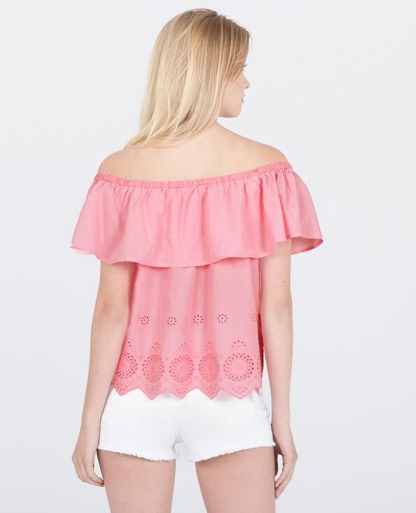 Blouse col bardot brodée rose