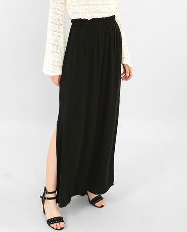 Lange rok met split zwart