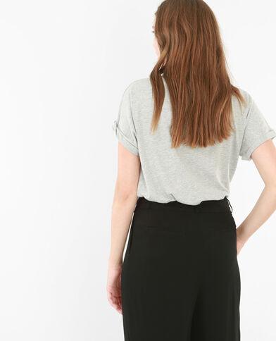T-shirt basique fendu gris chiné