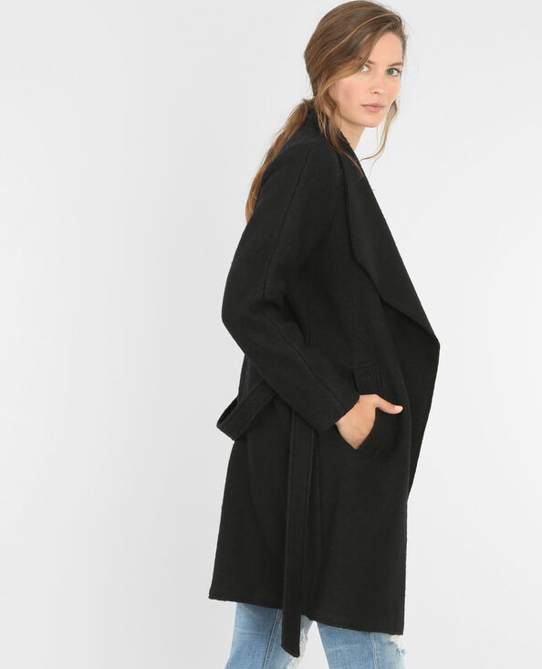 Cappotto con collo sciallato in panno di lana nero