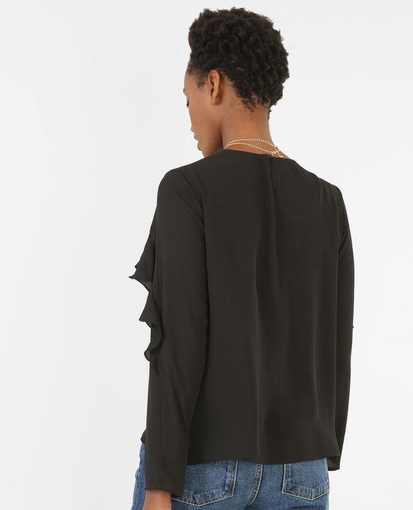 Blusa vaporosa con volantes negro