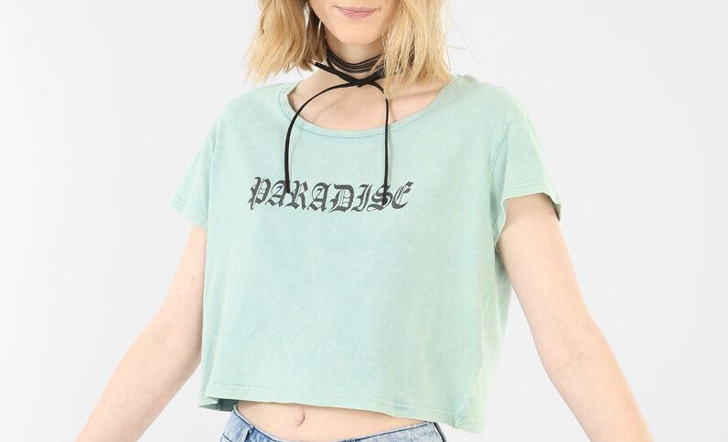 T-shirt cropped à message Bleu