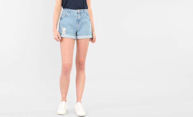 Weite Shorts im Destroyed-Look Denimblau