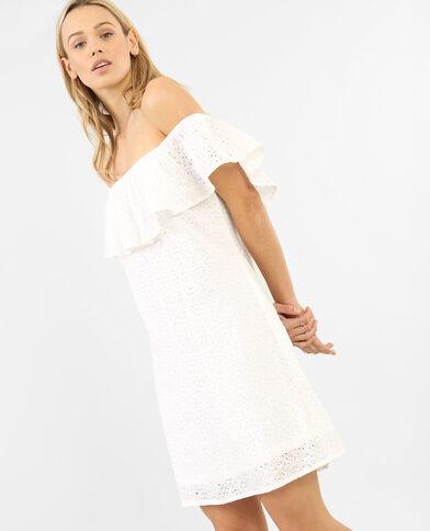 Kanten jurk met bardothals gebroken wit