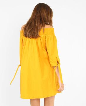 Kleid mit Bardot-Kragen Senfgelb