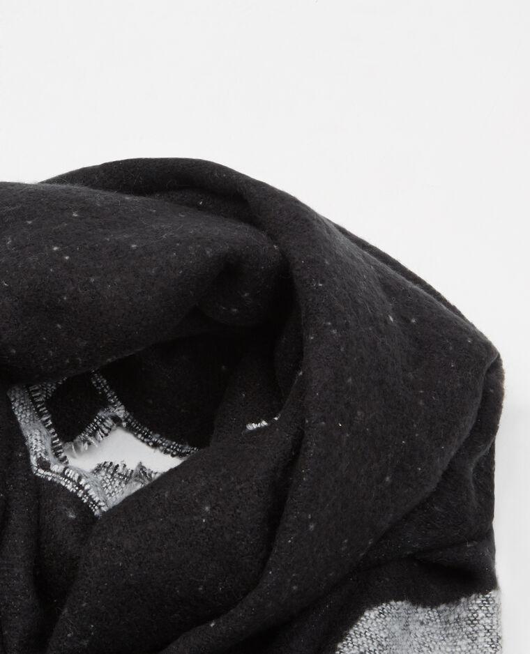 Plaid-Schal mit Schriftzug Schwarz
