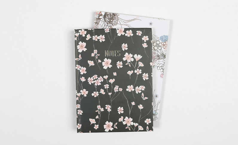 Lot de 2 notebooks imprimé fleuri noir