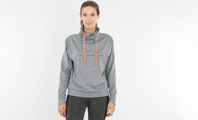 Sweat fin running gris chiné