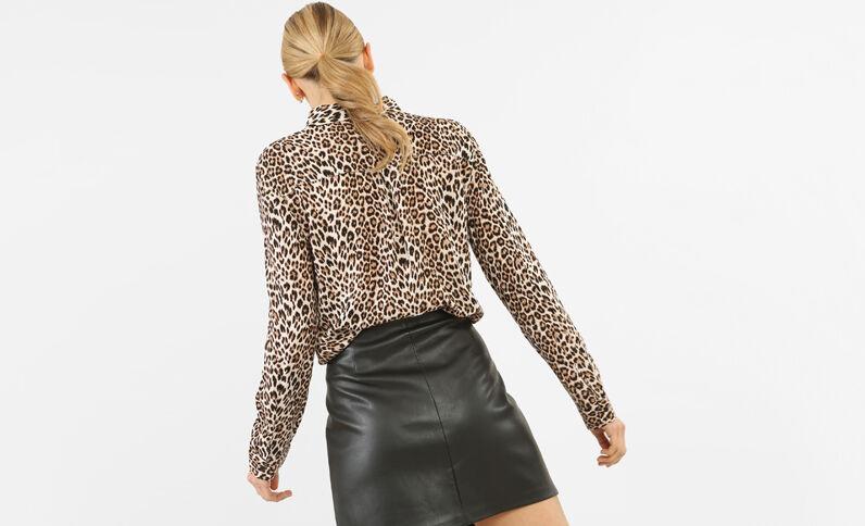 Camicia leopardata caramello