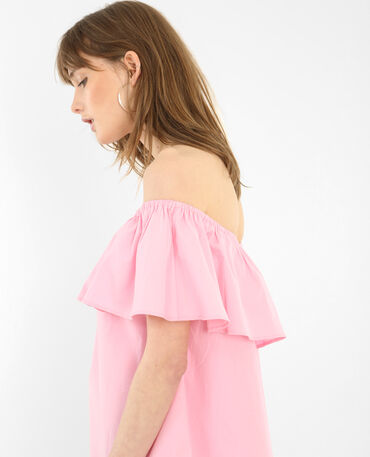 Popeline-Kleid mit Bardot-Ausschnitt Rosa