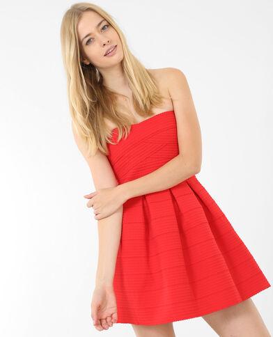 Gestructureerde strapless jurk Rood