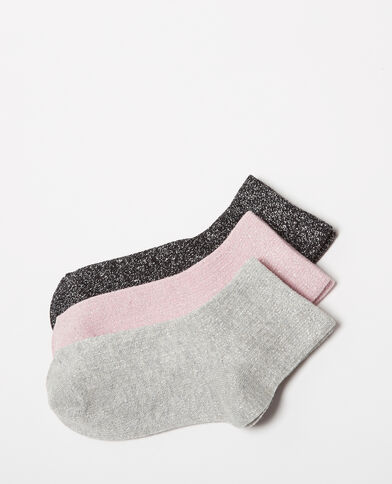Set met 3 paar sokken van lurex zwart
