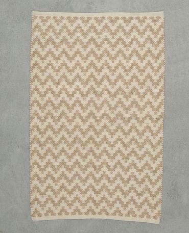 Tapis tissé zigzag blanc