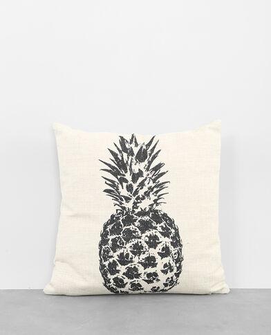 - Kissenbezug aus Baumwolle mit Ananas-Motiv. Weiß