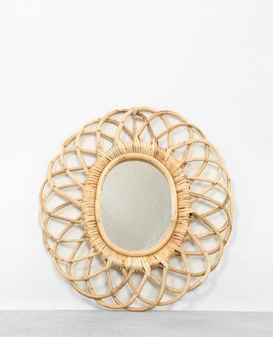 Miroir en rotin beige taupe