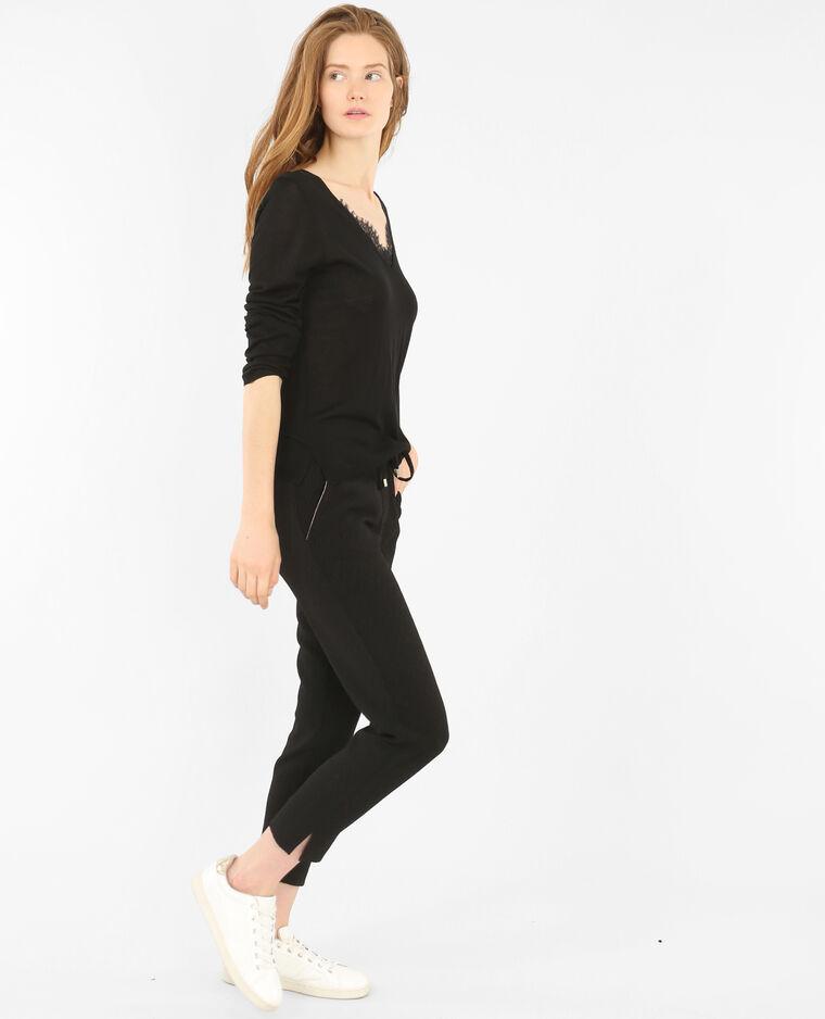 Pullover mit V-Ausschnitt aus Spitze Schwarz