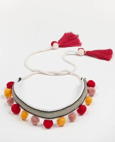 Ceinture en corde à pompons blanc