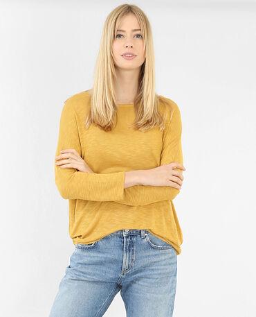 T-shirt manches chauve-souris jaune
