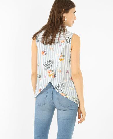 Camicia stampata spacco dietro blu chiaro