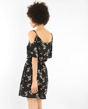Weich fließendes Kleid mit Peekaboo-Ärmeln Schwarz