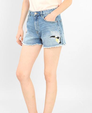 Jeansshort met kolibriprint blauw