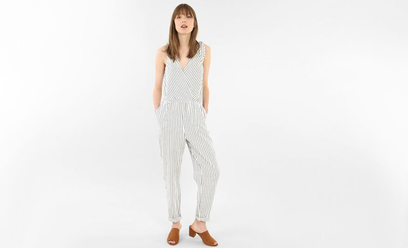 Combi-pantalon rayée blanc cassé