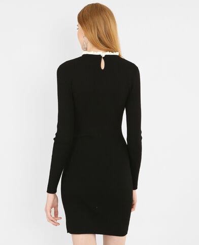 -Kleid aus  Rippstrick. Schwarz