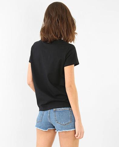 T-shirt broderie rose noir