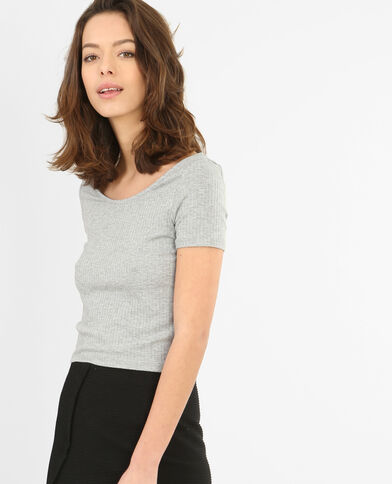 T-shirt cropped a coste grigio chiné