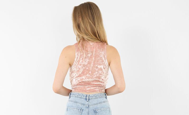 Fluwelen croptop roze