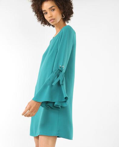 Soepelvallende jurk met wijde mouwen groen