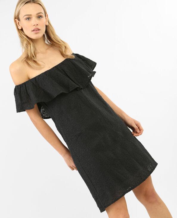 Spitzen-Kleid mit Bardot-Ausschnitt Schwarz