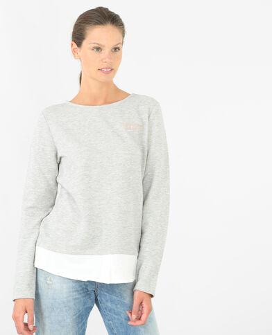 Sweatshirt aus Materialmix Grau