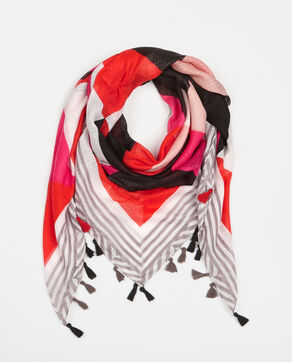 Foulard color block pompons rose