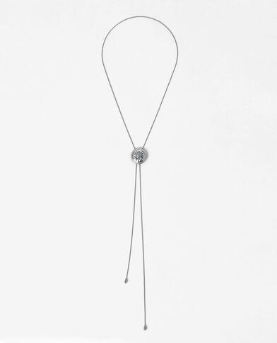 Choker medaglione turchese grigio paillettato