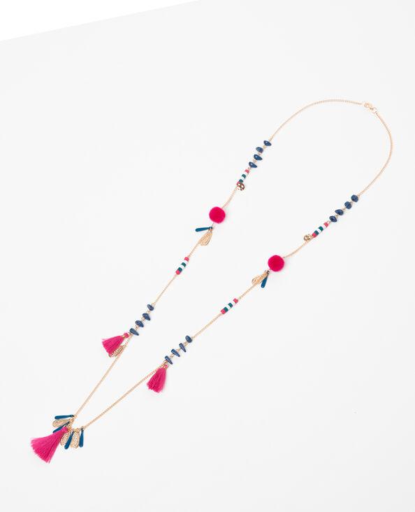Long collier à pompons doré