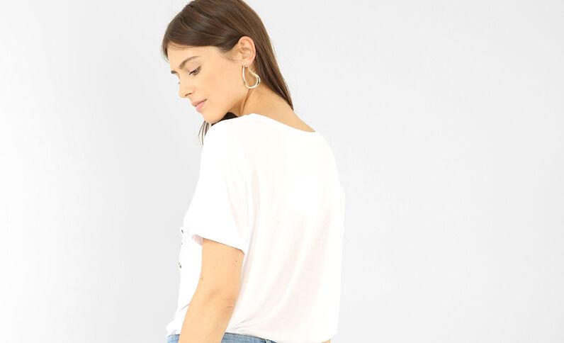 Oversized T-shirt met zakje met jeansknoop ecru