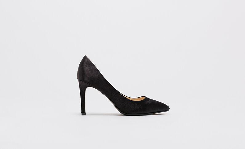 Zapatos de tacón satinados negro