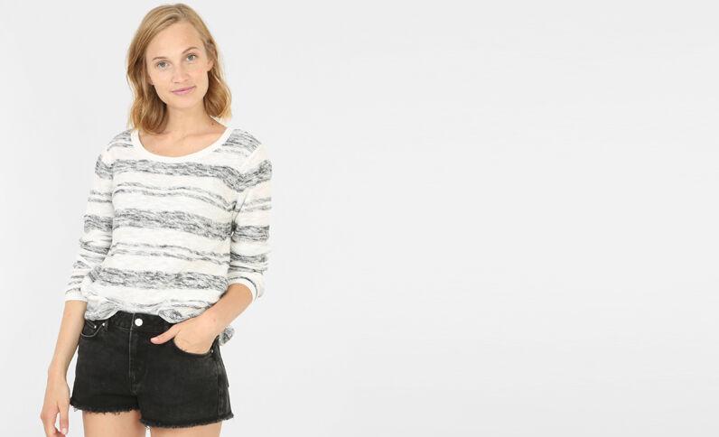 Leichter gestreifter Pullover Altweiß