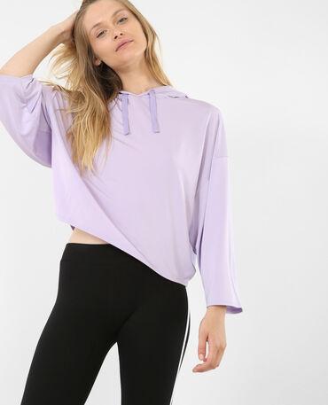 Sudadera de deporte con capucha violeta