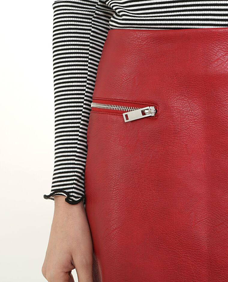 Jupe similicuir zippée rouge