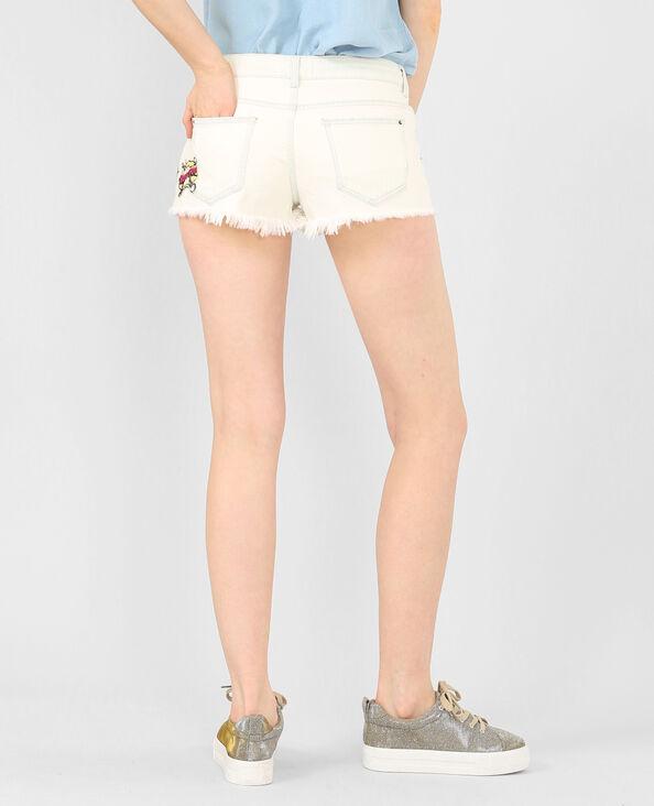 Jeans-Shorts mit Patch Weiß