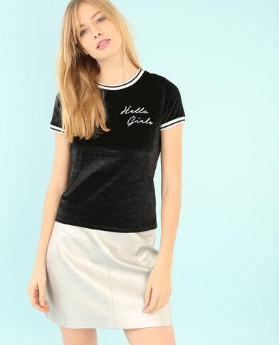 Velours-T-Shirt Schwarz