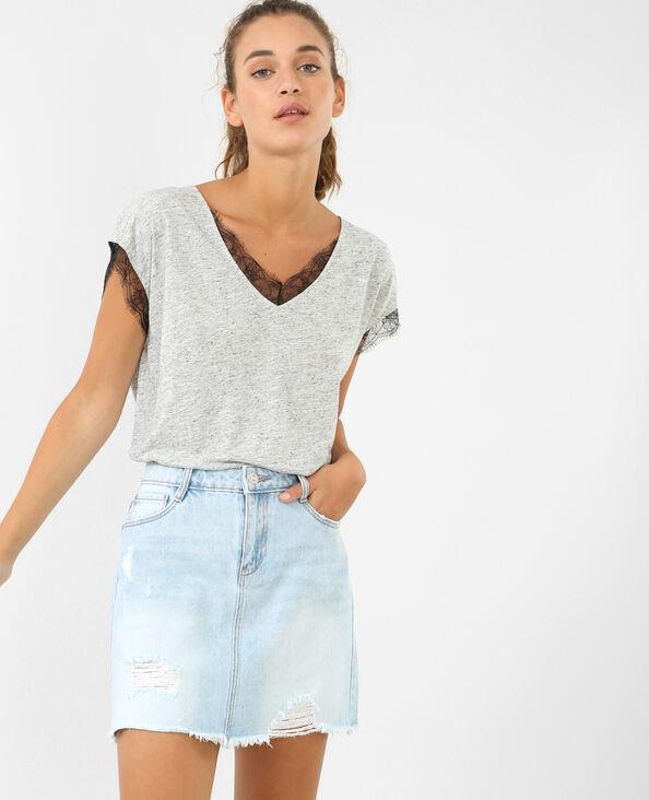 T-shirt dentelle gris chiné